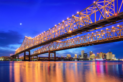 Crescent City Connection bridge at night, New Orleans